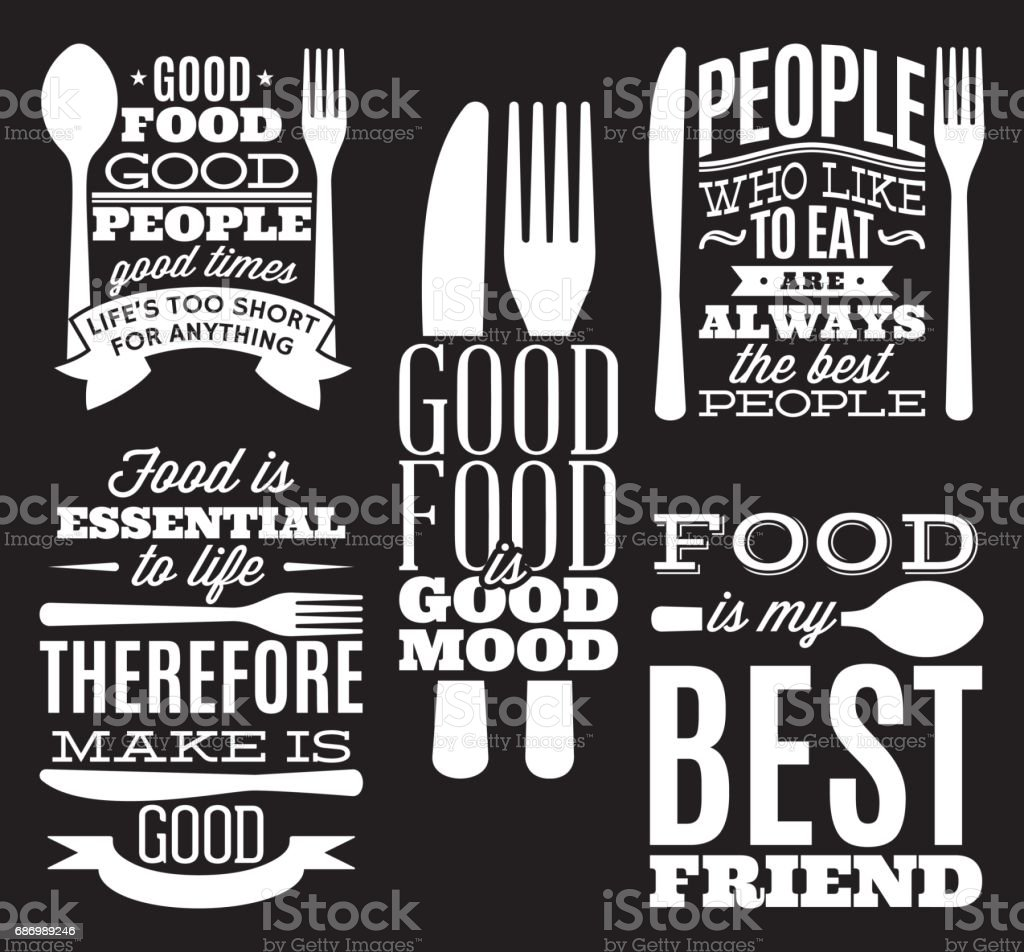 Set Of Vintage Typographic Food Quotes For The Menu Or Tshift With