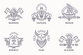 Set of vintage vector icon templates with ethnic elements in thin line style. Tribal style badges, scandinavian icontype. Monochrome, black on white