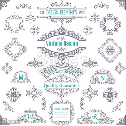 Set of Vintage Vector Line Art Calligraphic Elements .  Decorative Dividers, Borders, Swirls, Scrolls, Monograms and  Frames.
