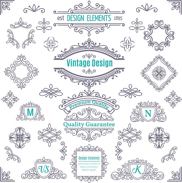 set of vintage vector line art calligraphic elements . - architecture borders stock illustrations