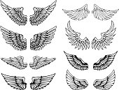 Set of vintage vector wings. Design elements for label, emblem, sign, poster, t shirt. Vector illustration