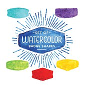 Set of vintage watercolor badge shapes