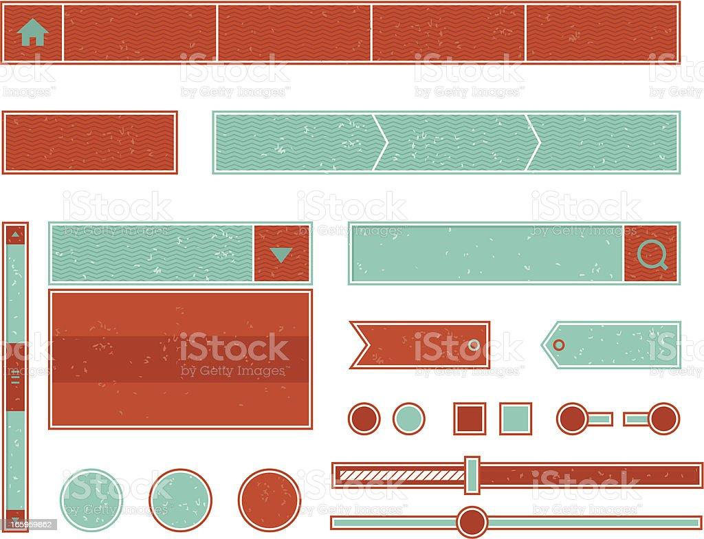Set of vintage web elements vector art illustration