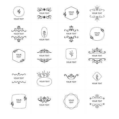 Set of vintage wedding and monogram frames. Elegant floral design elements. Vector isolated illustration.