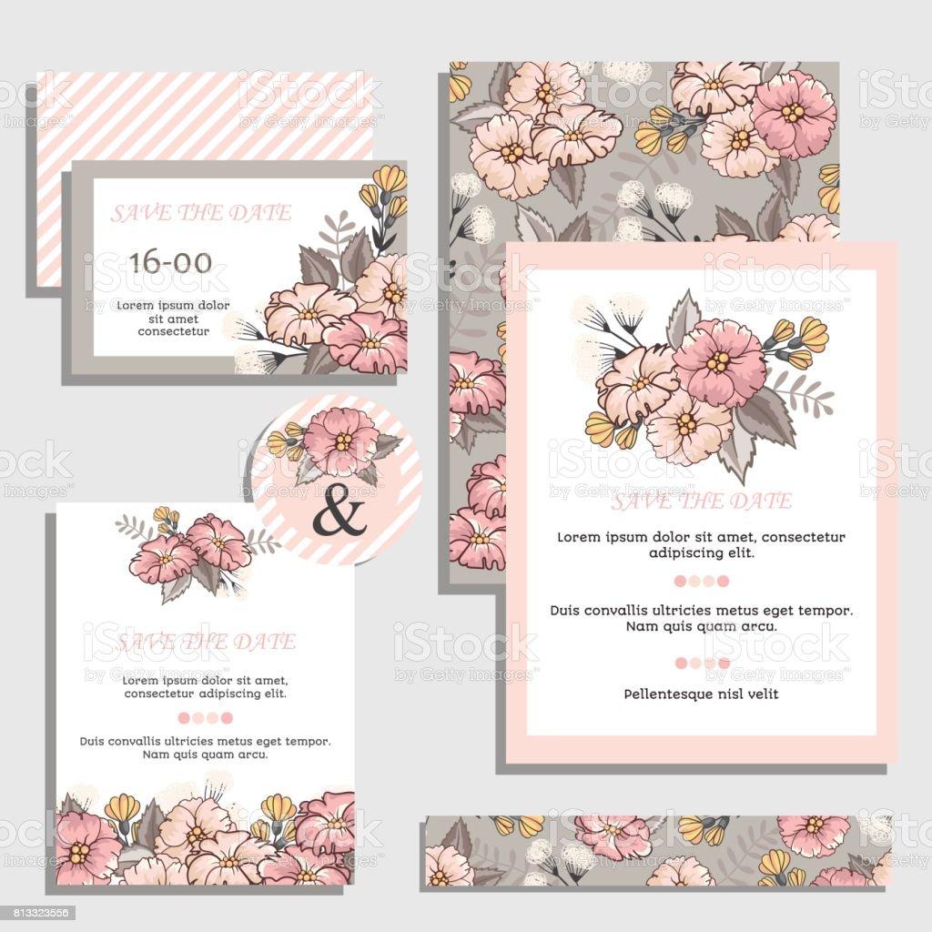 Set Of Vintage Wedding Invitation Cards Stock Vector Art & More ...