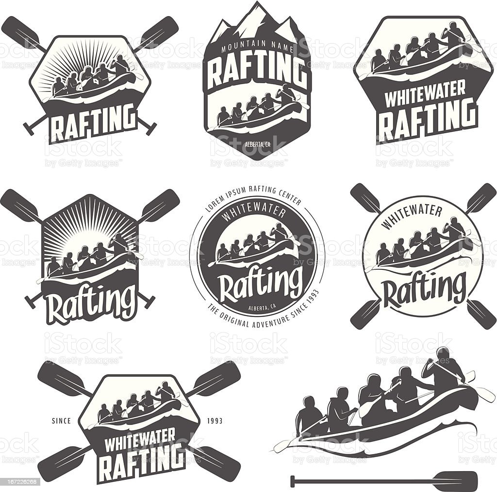 Set of vintage whitewater rafting labels and badges vector art illustration