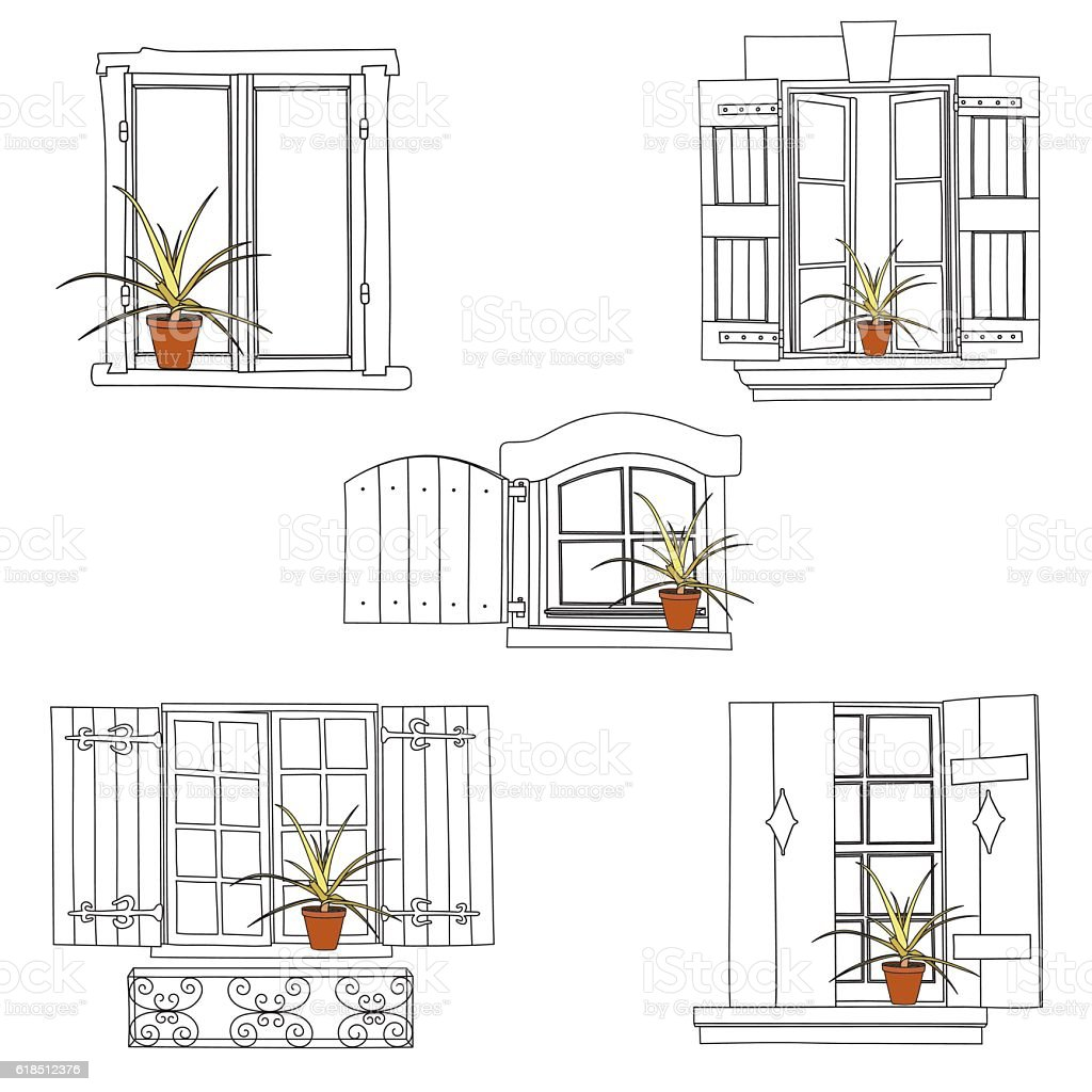 vintage window drawing. set of vintage window royalty-free stock vector art drawing t