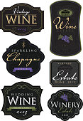 Set of vintage textured wine labels with wine related text on white background. Black label theme with olive green, purple and pale yellow accent colors.