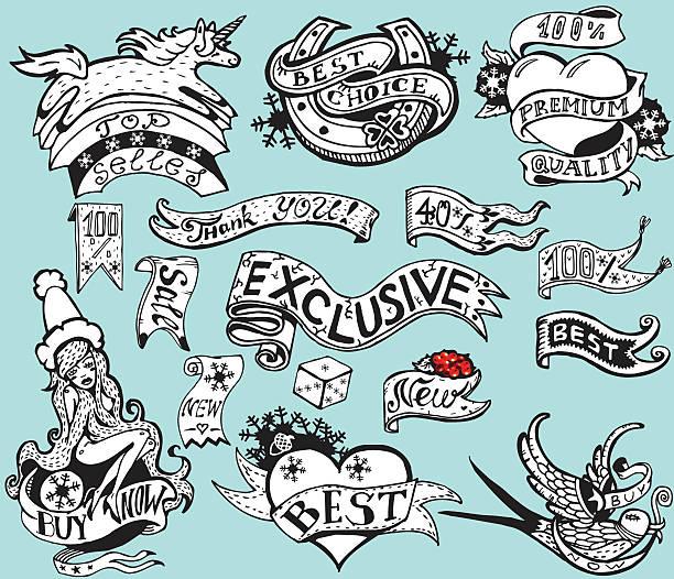 ilustrações, clipart, desenhos animados e ícones de conjunto de quadros vintage e elementos de design de inverno - tatuagens de faixas