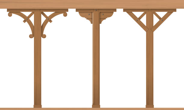 Set of vintage wooden columns Set of vintage wooden architectural columns for the gazebo or patio. Carpentry. Templates vector graphics porch stock illustrations