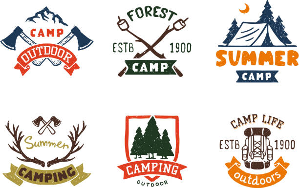 Set of vintage woods camp badges and travel  hand drawn emblems nature mountain camp outdoor vector illustration vector art illustration