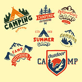 Set of vintage woods camp badges and travel icon hand drawn emblems nature mountain camp outdoor vector illustration. Park recreation exploration graphic sticker.