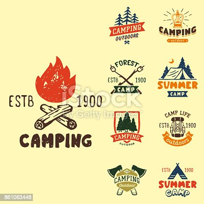Set of vintage woods camp badges and travel logo hand drawn emblems nature mountain camp outdoor vector illustration. Park recreation exploration graphic sticker.