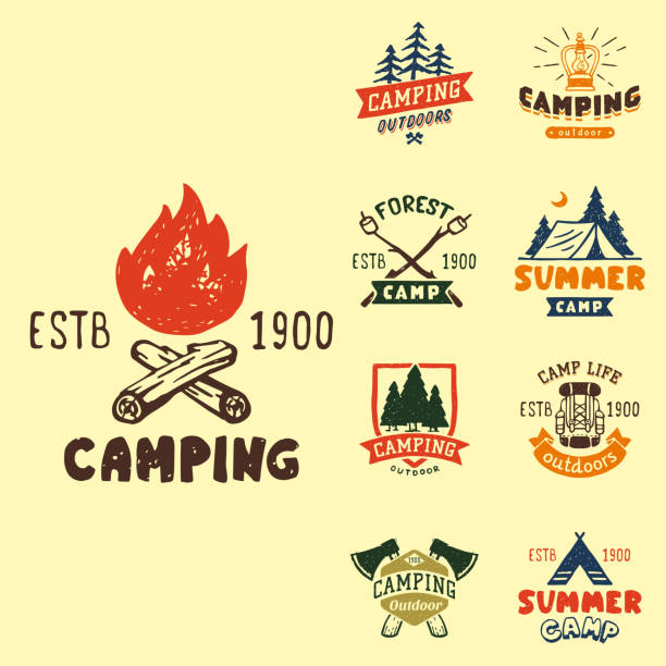illustrazioni stock, clip art, cartoni animati e icone di tendenza di set of vintage woods camp badges and travel logo hand drawn emblems nature mountain camp outdoor vector illustration - falò