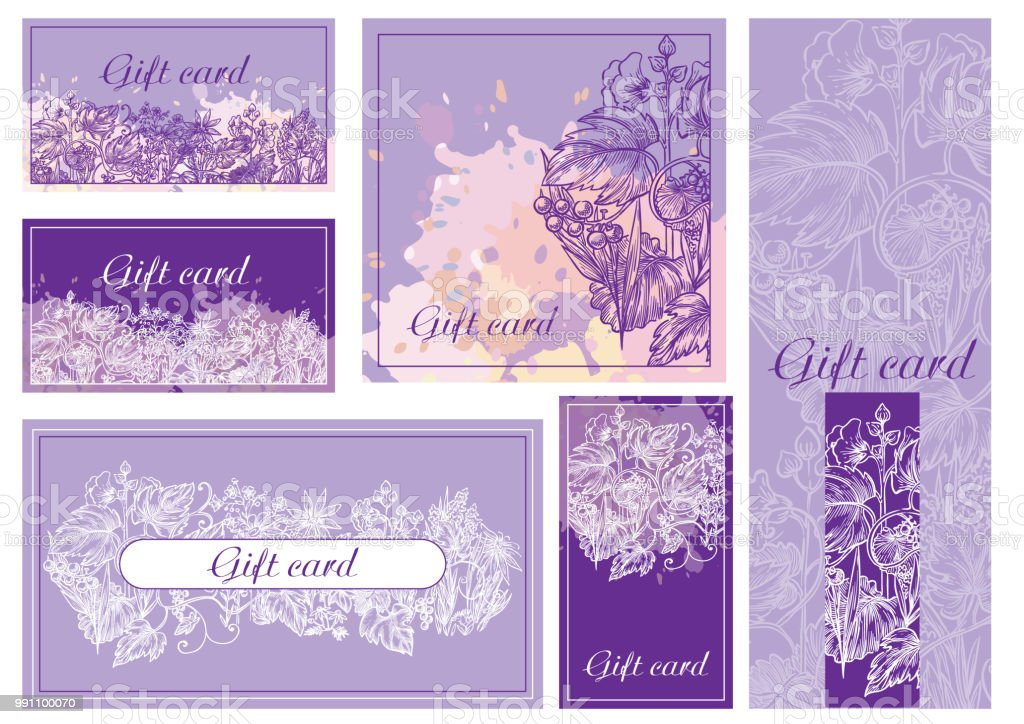 Set of violet floral gift card vector art illustration