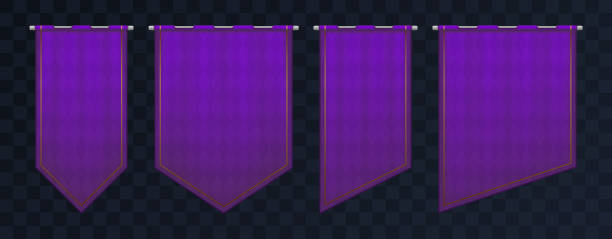 set of violet royal medieval banners. pennant templates with iron poles and gold elements. empty flags with texture and pattern. - средневековье stock illustrations