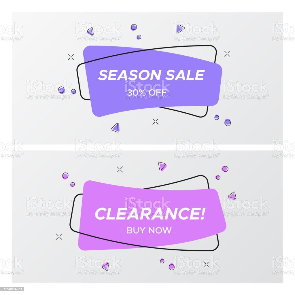 Set of violet sale tag in trendy colors and design vector art illustration