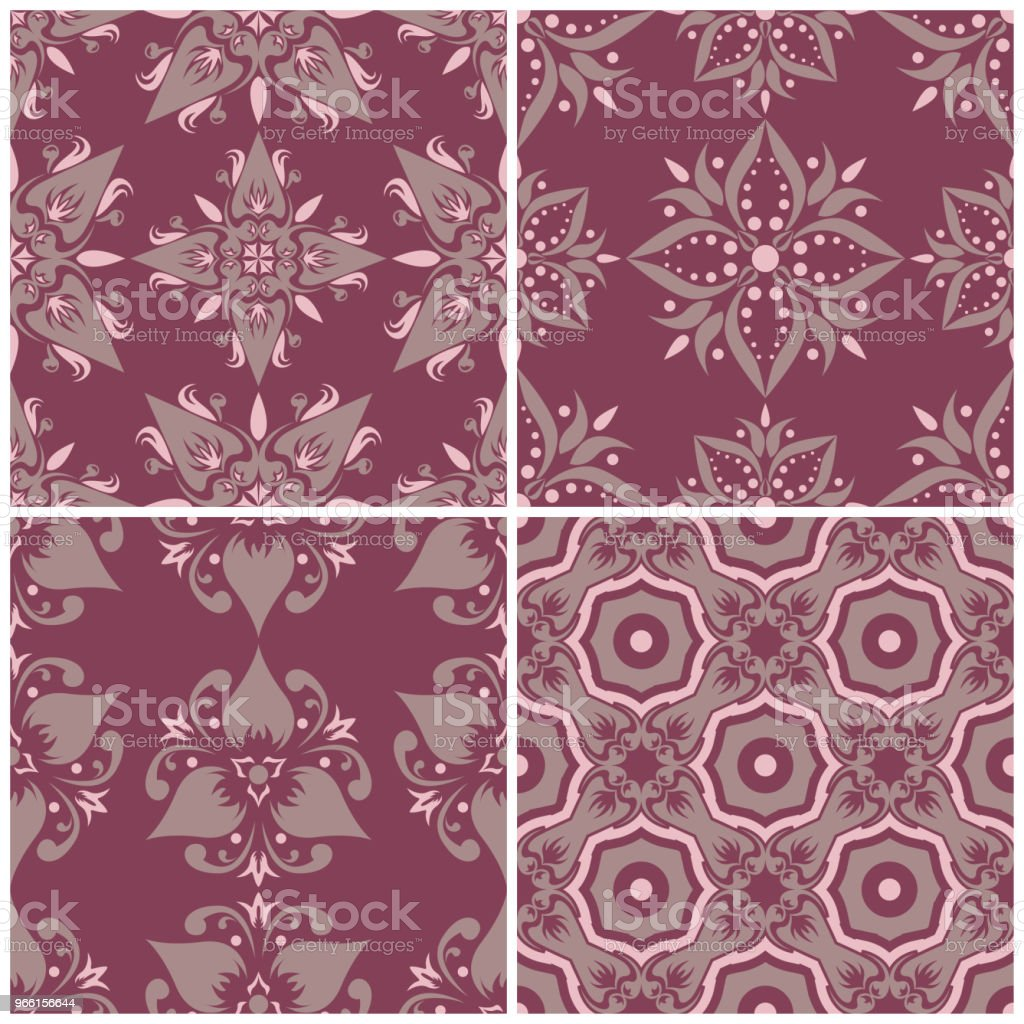 Set of violet seamless backgrounds with floral patterns - Royalty-free Abstrato arte vetorial