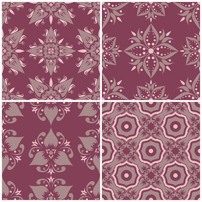 Set Of Violet Seamless Backgrounds With Floral Patterns Stock Illustration - Download Image Now
