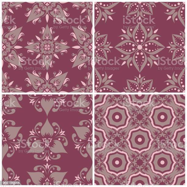 Set Of Violet Seamless Backgrounds With Floral Patterns — стоковая векторная графика и другие изображения на тему Абстрактный