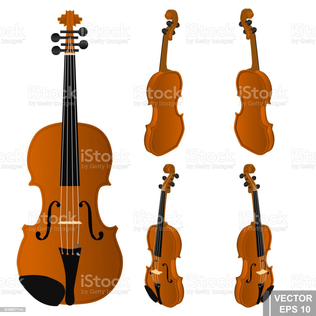 Set Of Violins Musical Instrument Realistic Isolated On White Background  Stock Illustration - Download Image Now