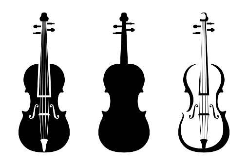 Set of violins. Vector black silhouettes.