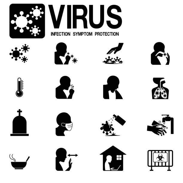 Set of virus infection icon on white background Set of virus infection icon on white background disgorge stock illustrations