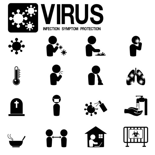 Set of virus infection simply icon on white background Set of virus infection simply icon on white background disgorge stock illustrations
