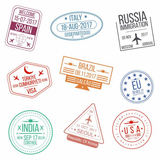 ilustraciones, imágenes clip art, dibujos animados e iconos de stock de serie de sellos de pasaporte visado. de llegadas internacionales muestra sellos de goma - viaje a sudamérica