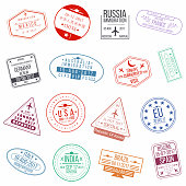 Set of visa passport stamps. International arrivals sign rubber stamps