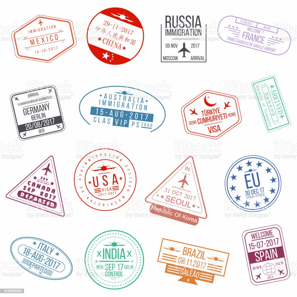 Set of visa passport stamps. International arrivals sign rubber stamps vector art illustration