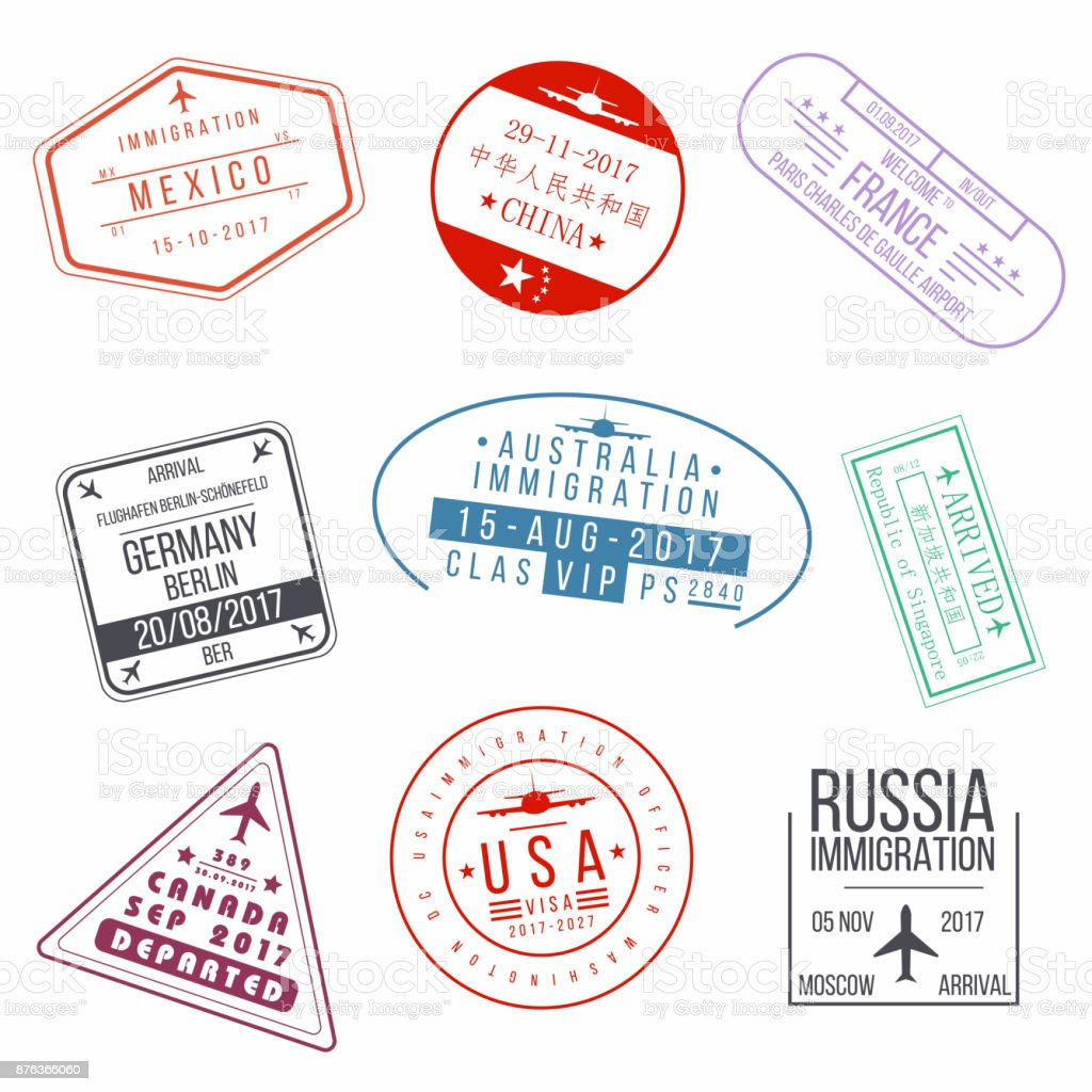 Set of visa passport stamps. International arrivals sign rubber stamps vector art illustration