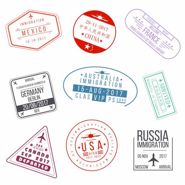 ilustraciones, imágenes clip art, dibujos animados e iconos de stock de serie de sellos de pasaporte visado. de llegadas internacionales muestra sellos de goma - viaje a canadá