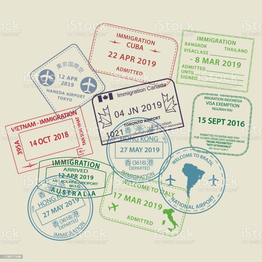 Set of International travel visas passport stamp icons for entering...