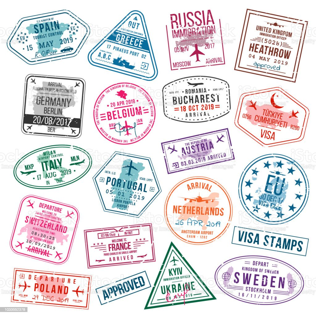 Set of visa stamps for passports. International and immigration office stamps. Arrival and departure visa stamps to Europe - Spain, Germany, Portugal, Turkey, Poland, Russia, United Kingdom etc. vector art illustration
