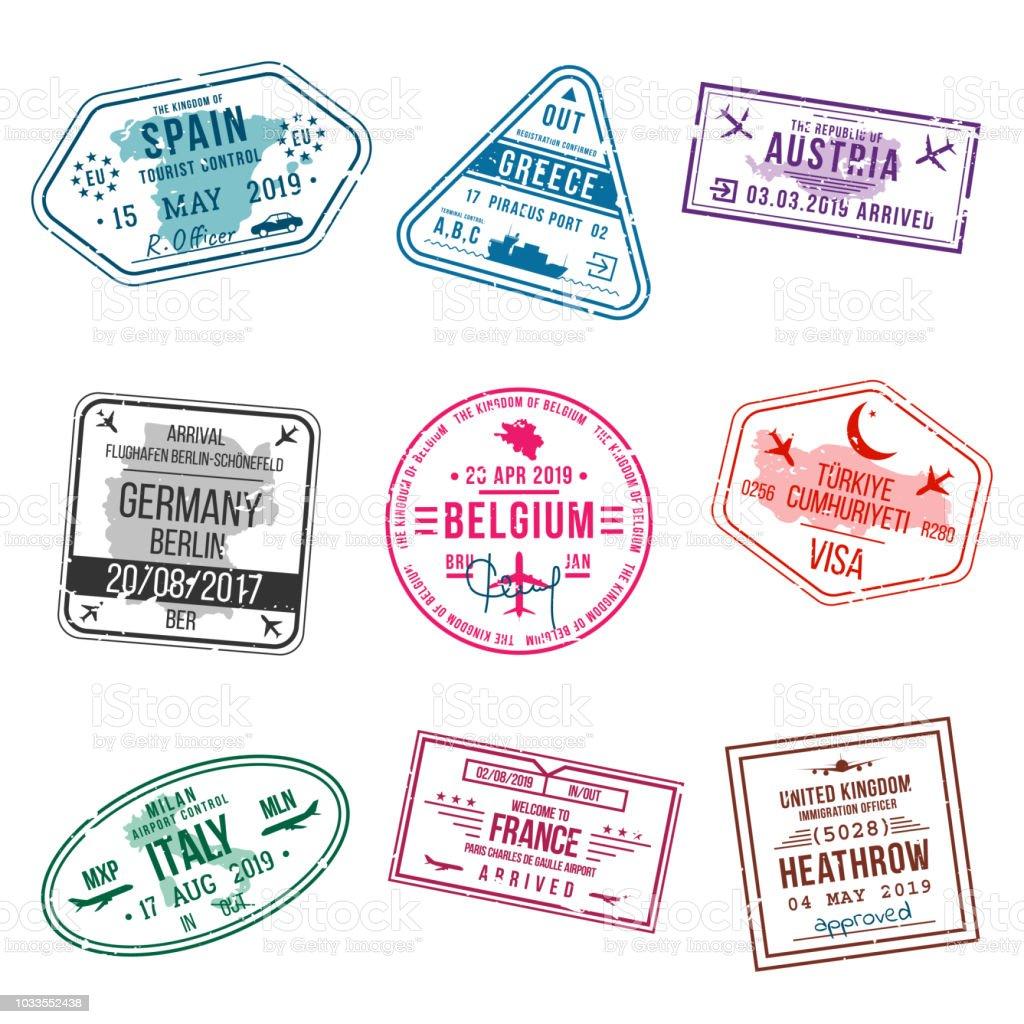 Set Van Visum Postzegels Voor Paspoorten International En