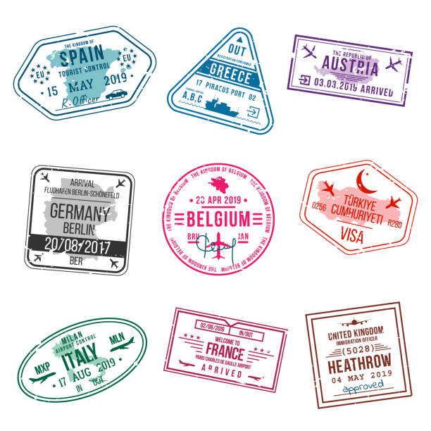 ilustrações, clipart, desenhos animados e ícones de conjunto de carimbos de visto para passaportes. carimbos de escritório internacional e imigração. chegada e partida carimbos de europa - espanha, grécia, alemanha, turquia, itália, frança, reino unido etc. - passaporte e visto