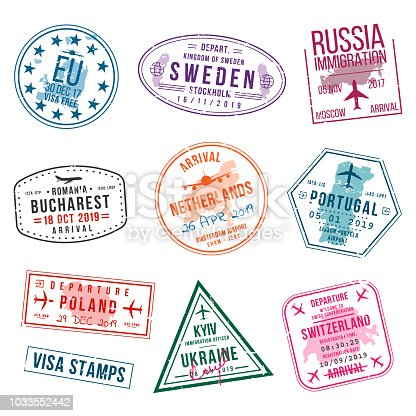 Set of visa stamps for passports. International and immigration office stamps. Arrival and departure visa stamps to Europe - Portugal, Poland, Russia, Netherlands etc. Vector