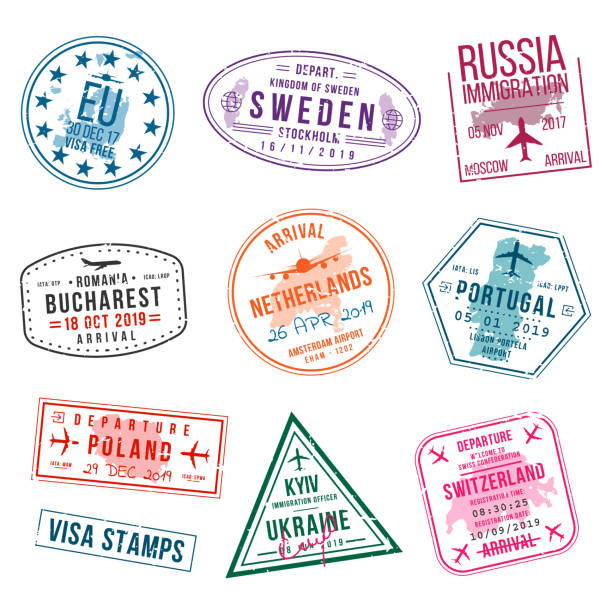 Set of visa stamps for passports. International and immigration office stamps. Arrival and departure visa stamps to Europe - Portugal, Poland, Russia, Netherlands etc. Set of visa stamps for passports. International and immigration office stamps. Arrival and departure visa stamps to Europe - Portugal, Poland, Russia, Netherlands etc. Vector airport borders stock illustrations