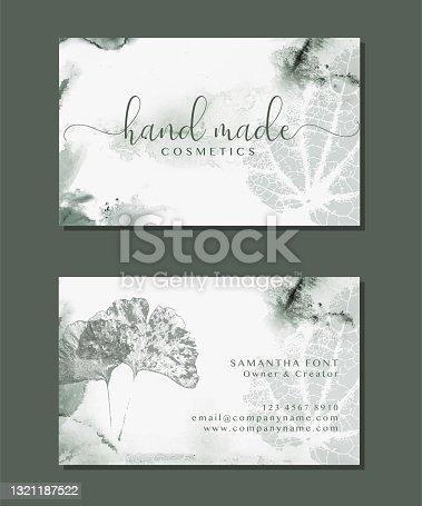 Set of visit cards for Natural organic herbal cosmetics. Elegant branding design