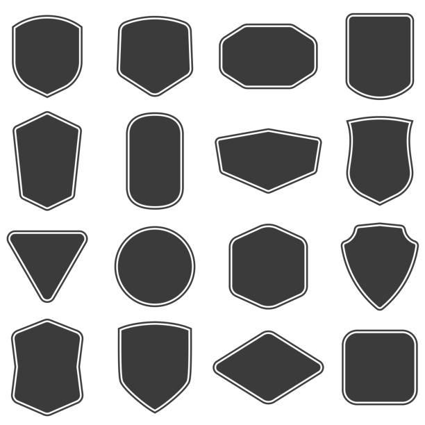 stockillustraties, clipart, cartoons en iconen met set vitage label en badges vorm collecties. vector. zwarte sjabloon voor patch, insignes, overlay. - patchwork