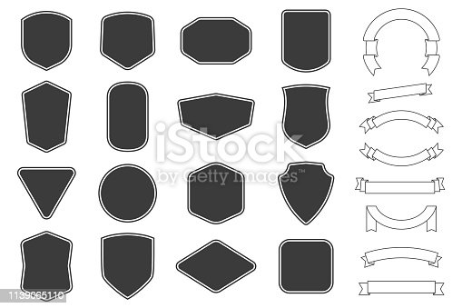 Set of vitage label, badges shape and ribbon baner collections. Vector illustration. Black template for patch, insignias, overlay.