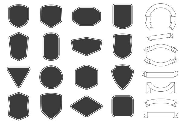 set of vitage label, badges shape and ribbon baner collections. vector. black template for patch, insignias, overlay. - przypinka stock illustrations