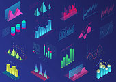 Set of vivid colorful infographic elements for ui design, presentation graphics, data statistics. 3d isometric bright light diagram vector illustration