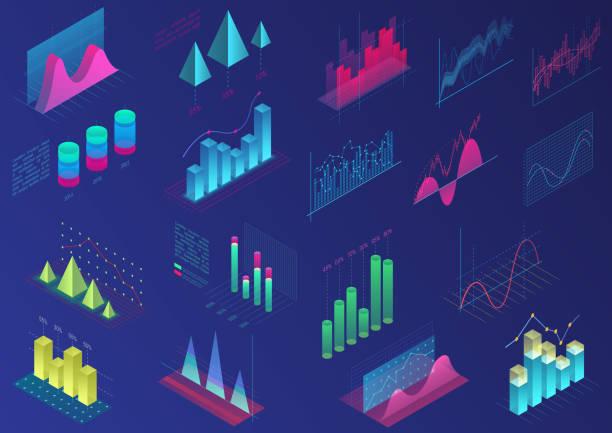 ilustrações, clipart, desenhos animados e ícones de conjunto de vívido colorido infográfico elementos de ui design, gráficos de apresentação, estatísticas de dados. ilustração em vetor 3d isométrica diagrama de luz brilhante. - gráfico