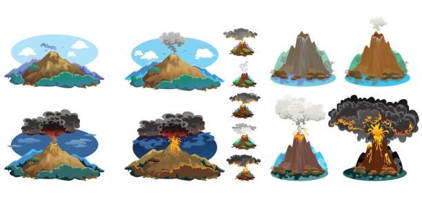 eine reihe von vulkanen von unterschiedlichem ausmaß der eruption, einen schlafsack oder erwachen gefährlich vulcan, gruß aus magma asche und rauch ausfliegen von vulkan, lava fließt über den berg-vektor-illustration - vulkane stock-grafiken, -clipart, -cartoons und -symbole