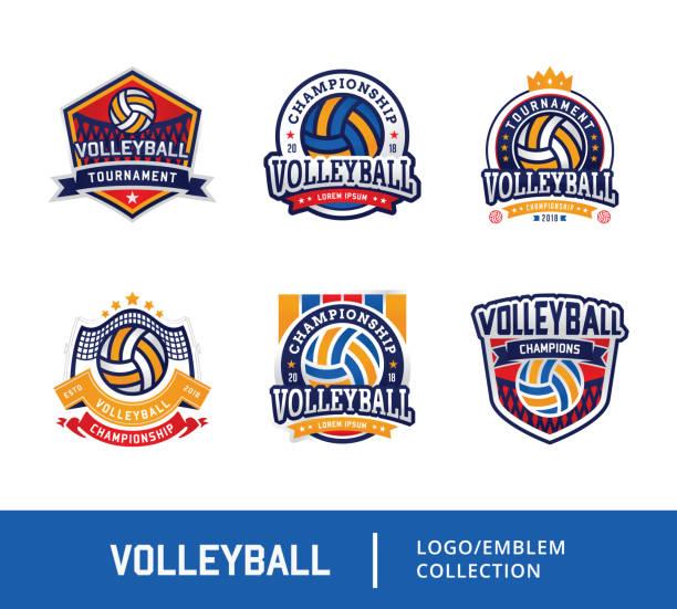 ilustrações, clipart, desenhos animados e ícones de conjunto de voleibol emblema projeto logotipo emblema - voleibol