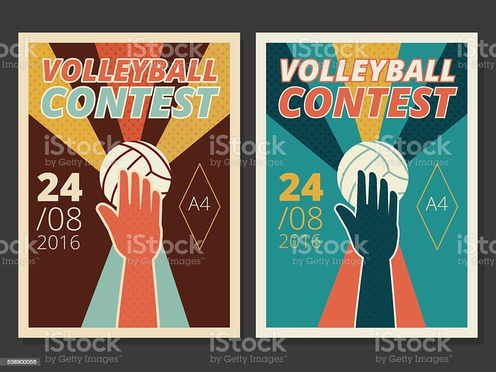 Set of volleyball game vector poster and flyer design vector art illustration