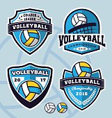 Set of volleyball logo template design