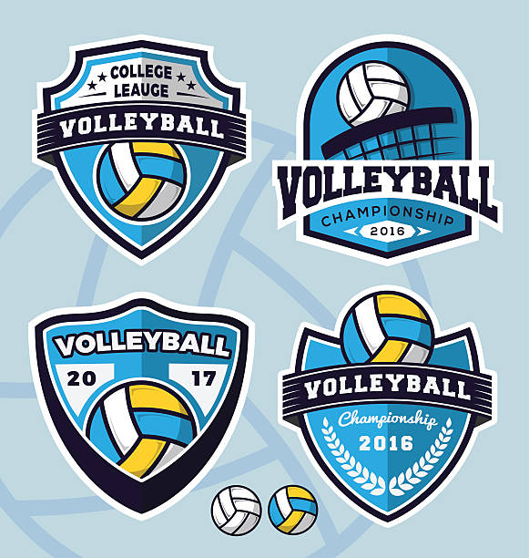 Conjunto de plantilla de diseño de logotipo de voleibol - ilustración de arte vectorial